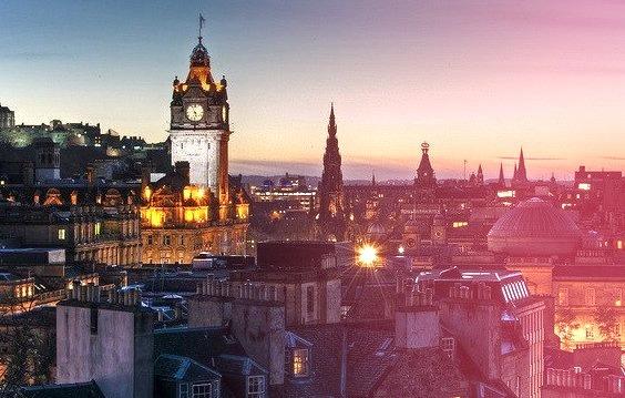 by Mac'Dor on Flickr.Edinburgh evening view from Calton Hill, Scotland.