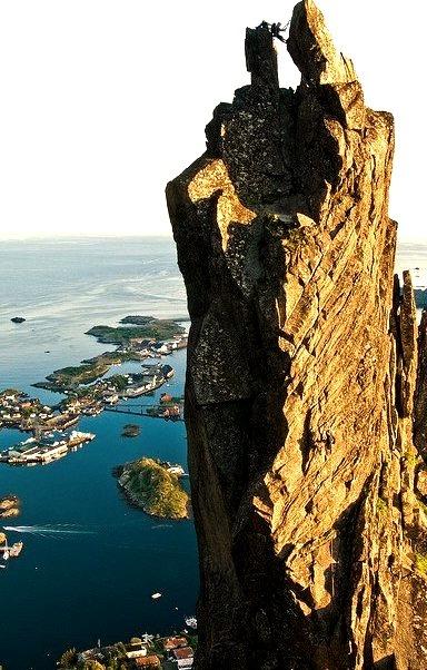 Climbing on Svolvaergeita, Lofoten Islands, Norway