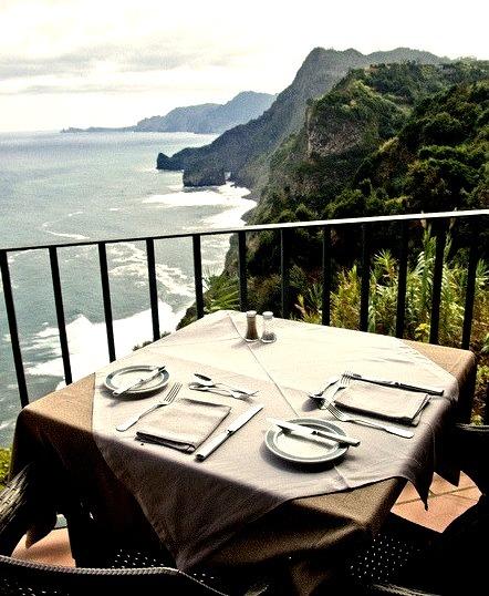 Terrace of restaurant at Quinta do Furao, Madeira Island, Portugal