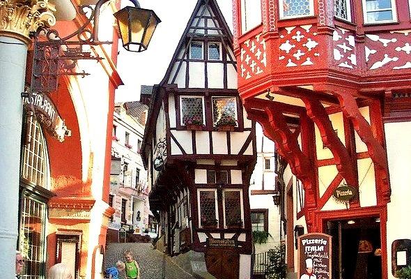 Beautiful timber-framed buildings in medieval Bernkastel-Kues, Germany