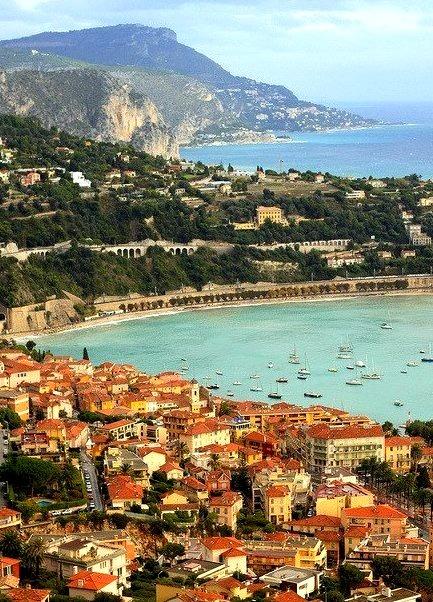 Looking east over Villefranche-sur-Mer, Cote d'Azur, France