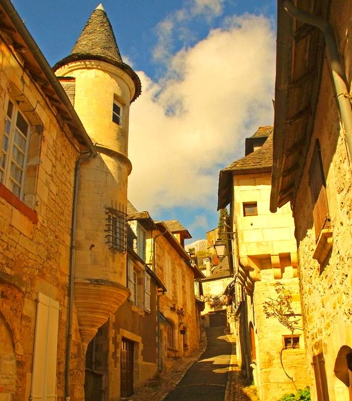 Medieval streets of Turenne in Limousin, France
