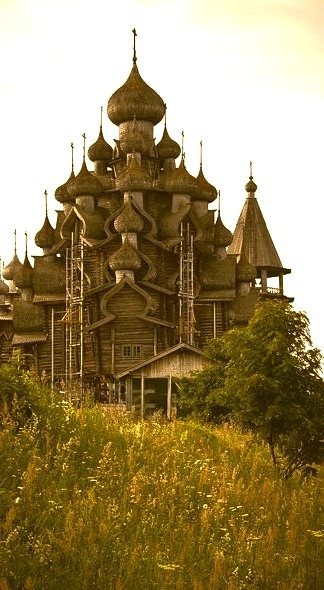 The wooden cathedral on Kizhi Island, Russia