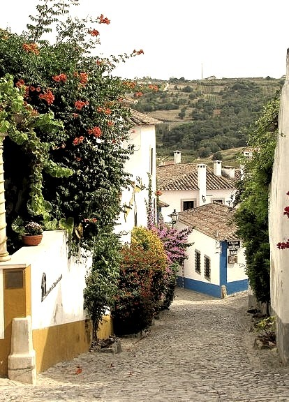 Picturesque cobbled streets of Obidos, Portugal