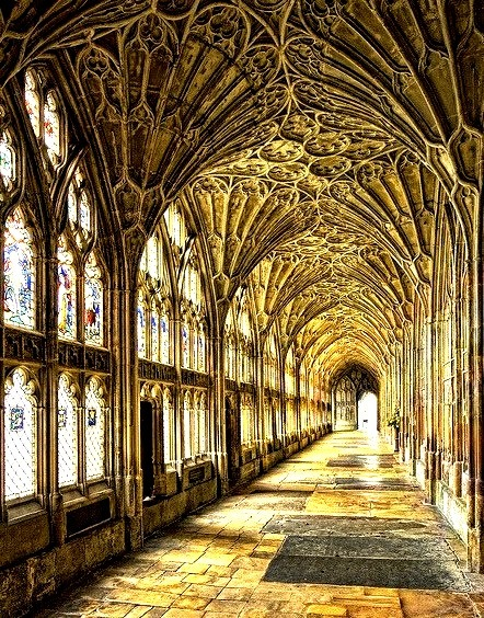 The famous cloister of Gloucester Cathedral, England